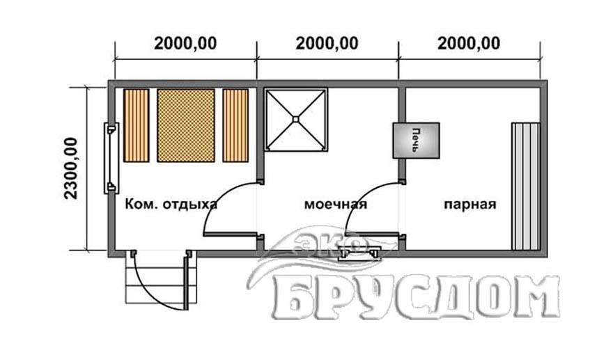 Схема бани из бруса 3х6